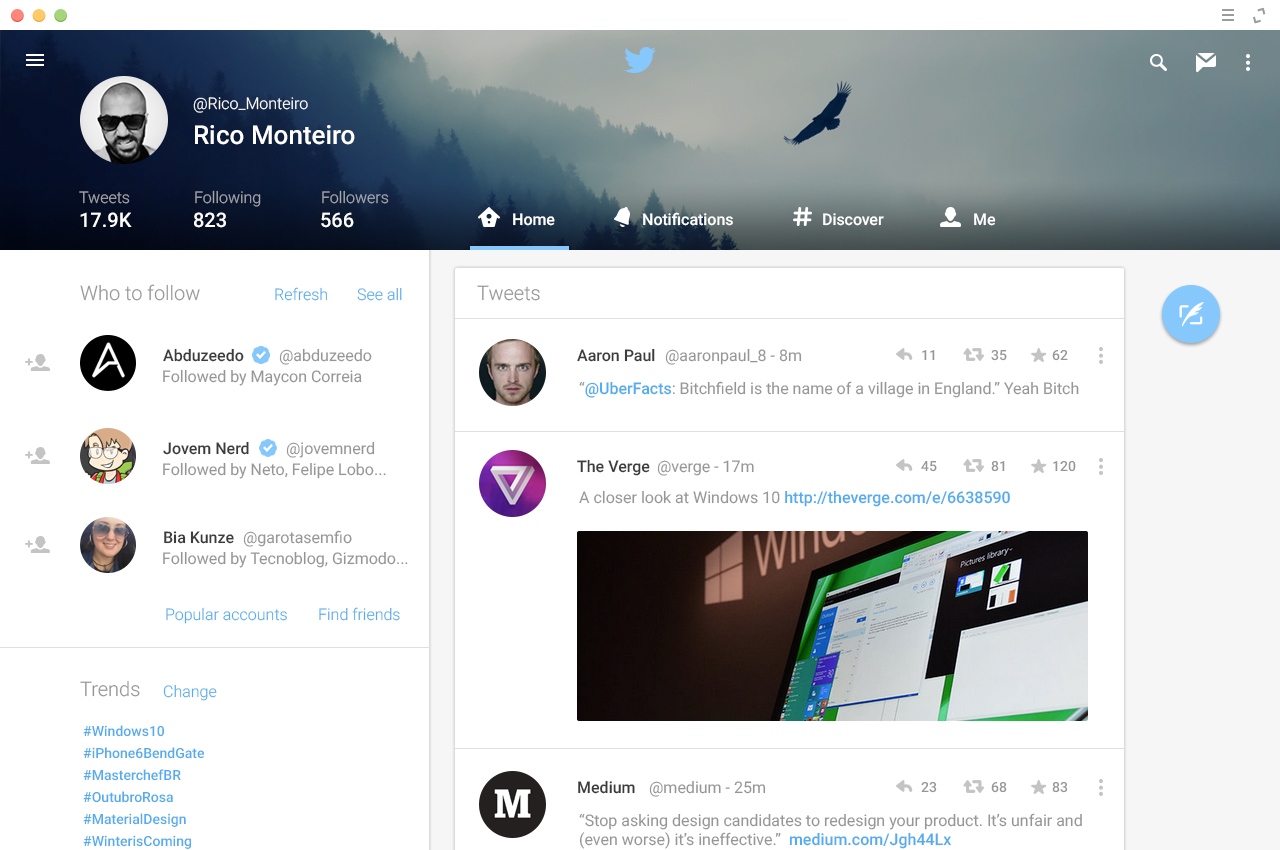 Twitter website in material design inspiration by lumiart for Architecture site web